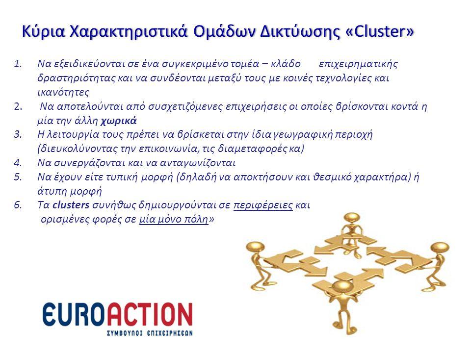 Κύρια Χαρακτηριστικά Ομάδων Δικτύωσης «Cluster»Κύρια Χαρακτηριστικά Ομάδων Δικτύωσης «Cluster» 1.Να εξειδικεύονται σε ένα συγκεκριμένο τομέα – κλάδο ε