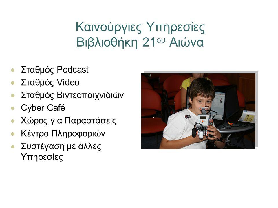 Καινούργιες Υπηρεσίες Βιβλιοθήκη 21 ου Αιώνα Σταθμός Podcast Σταθμός Video Σταθμός Βιντεοπαιχνιδιών Cyber Café Χώρος για Παραστάσεις Κέντρο Πληροφοριών Συστέγαση με άλλες Υπηρεσίες