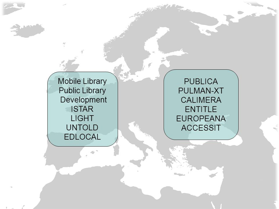 Mobile Library Public Library Development ISTAR LIGHT UNTOLD EDLOCAL PUBLICA PULMAN-XT CALIMERA ENTITLE EUROPEANA ACCESSIT