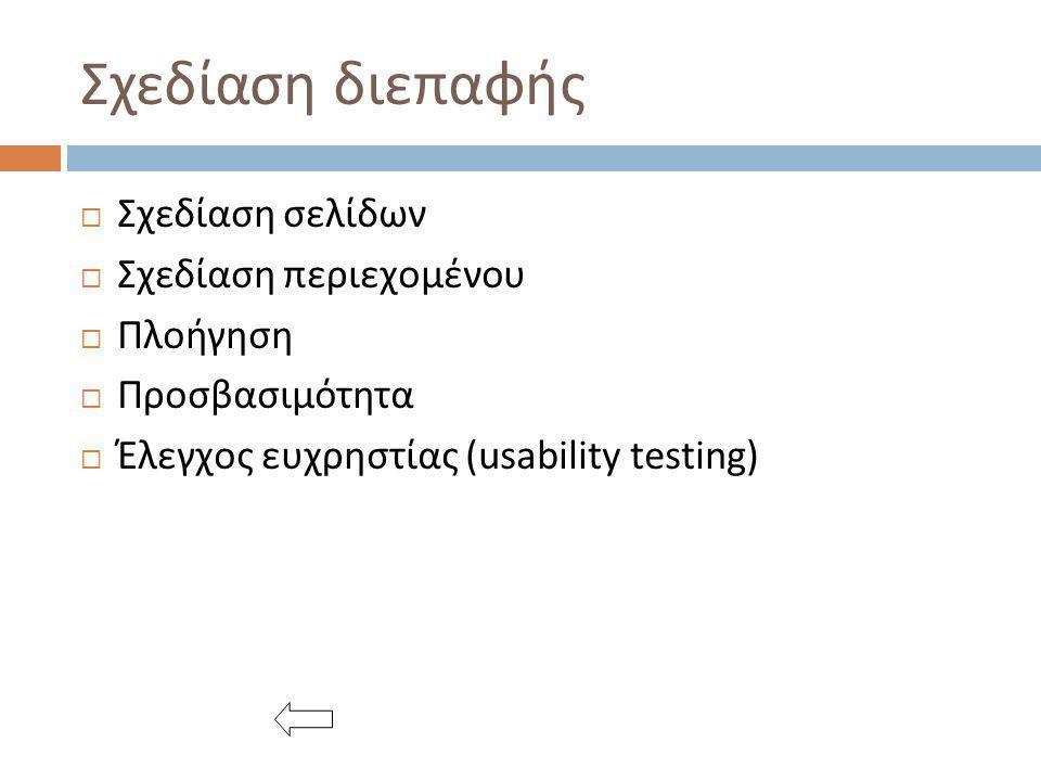 Σχεδίαση διεπαφής  Σχεδίαση σελίδων  Σχεδίαση περιεχομένου  Πλοήγηση  Προσβασιμότητα  Έλεγχος ευχρηστίας (usability testing)