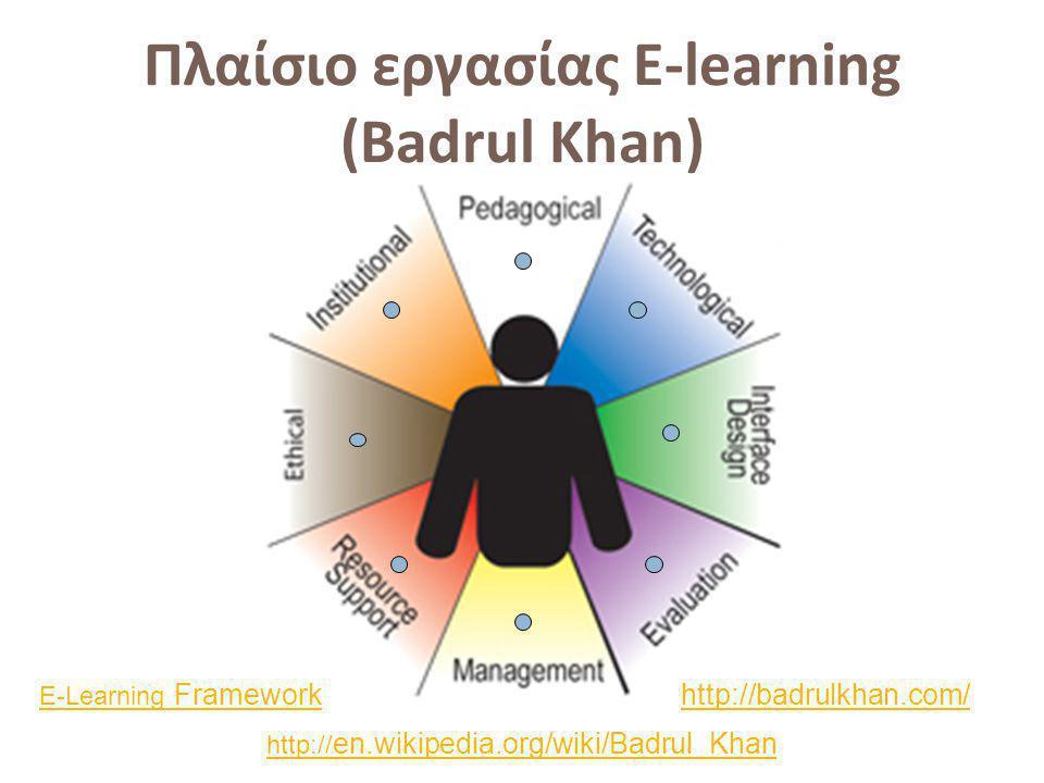 Πλαίσιο εργασίας E-learning (Badrul Khan) http:// en.wikipedia.org/wiki/Badrul_Khan E-Learning Frameworkhttp://badrulkhan.com/