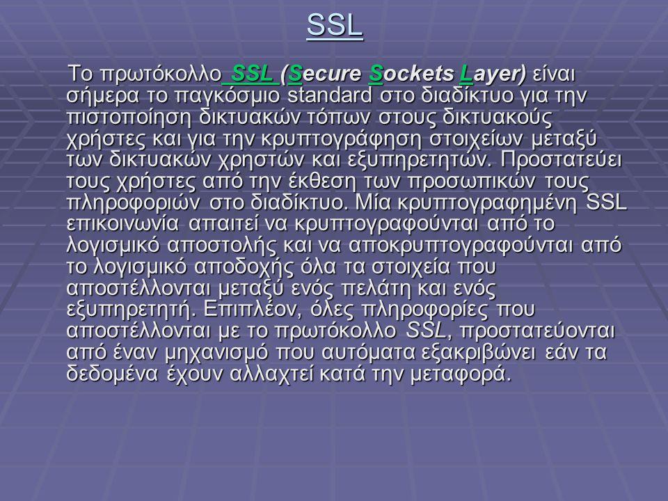 SSL Το πρωτόκολλο SSL (Secure Sockets Layer) είναι σήμερα το παγκόσμιο standard στο διαδίκτυο για την πιστοποίηση δικτυακών τόπων στους δικτυακούς χρή