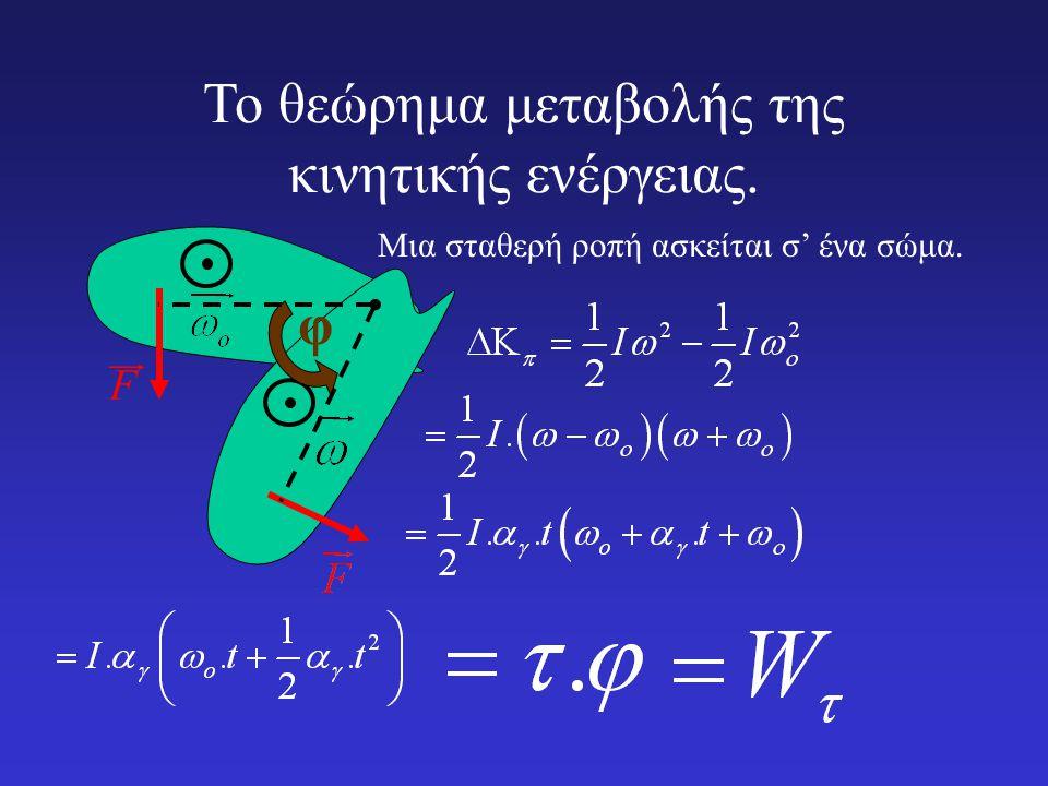 Το θεώρημα μεταβολής της κινητικής ενέργειας. F  Μια σταθερή ροπή ασκείται σ' ένα σώμα. φ