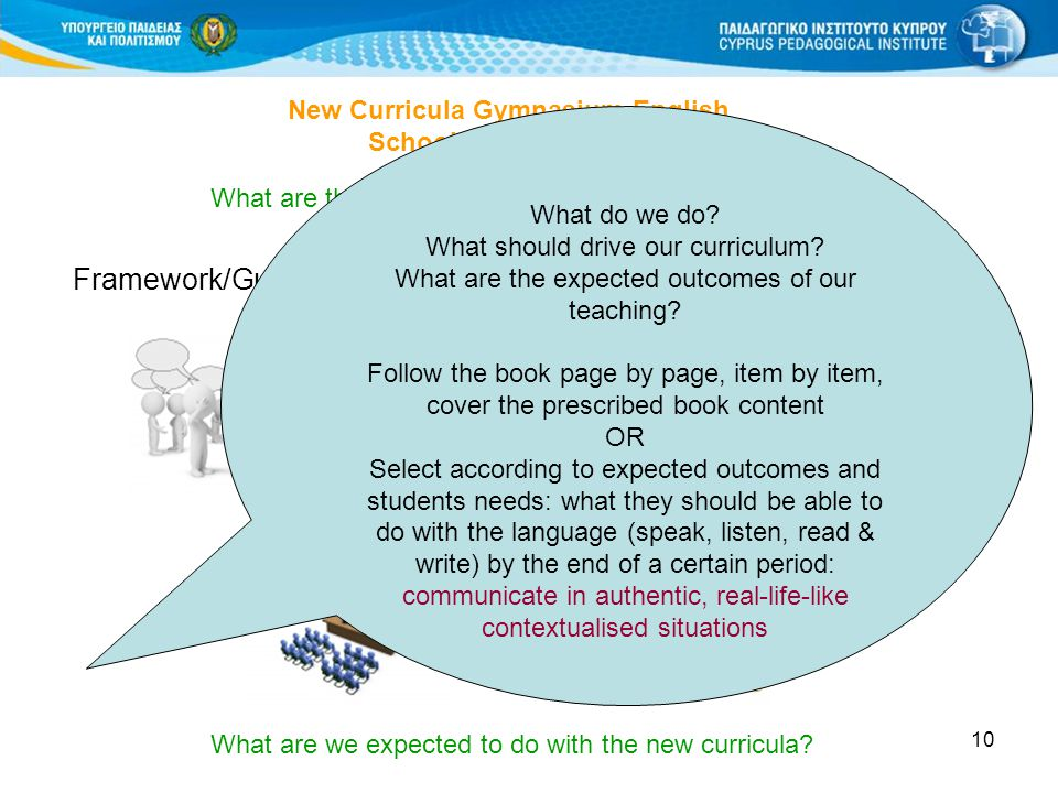 11 New Curricula Gymnasium-English School year 2011-2012 Development of a thematic unit based on:  New Curriculum / Frameworks for Public Schools in the Republic of Cyprus  New Curriculum / Frameworks for Languages  Prescribed set of materials Checklist See pages 3-4