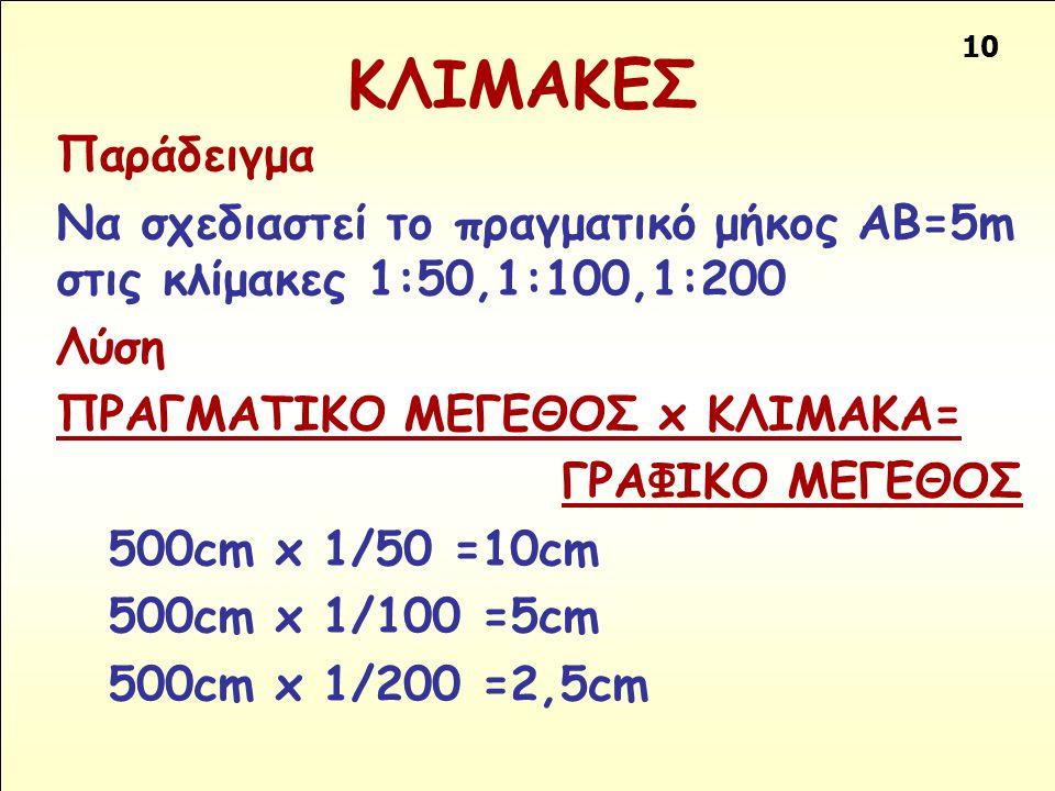 10 ΚΛΙΜΑΚΕΣ Παράδειγμα Να σχεδιαστεί το πραγματικό μήκος ΑΒ=5m στις κλίμακες 1:50,1:100,1:200 Λύση ΠΡΑΓΜΑΤΙΚΟ ΜΕΓΕΘΟΣ x ΚΛΙΜΑΚΑ= ΓΡΑΦΙΚΟ ΜΕΓΕΘΟΣ 500cm