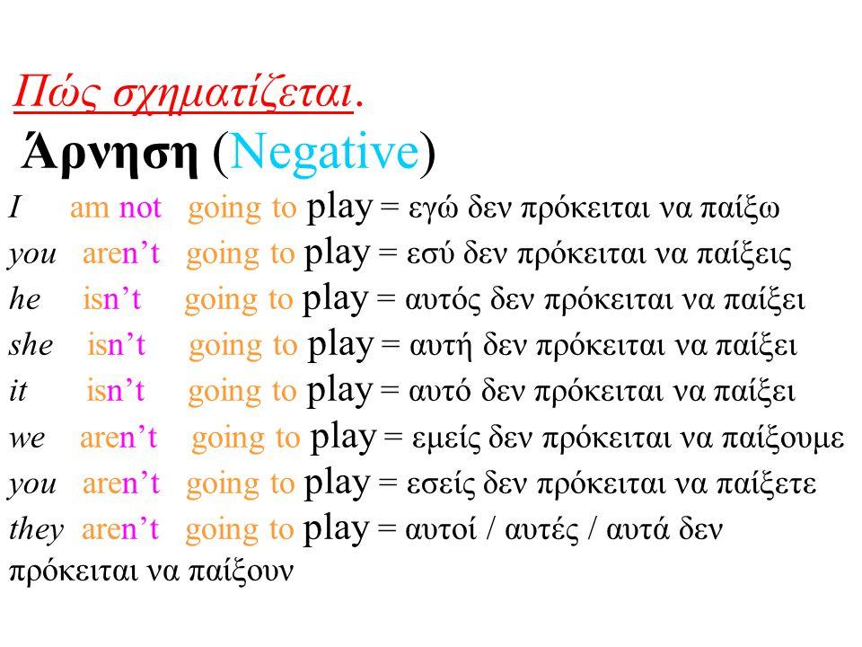 Πώς σχηματίζεται. Άρνηση (Negative) I am not going to play = εγώ δεν πρόκειται να παίξω you aren't going to play = εσύ δεν πρόκειται να παίξεις he isn