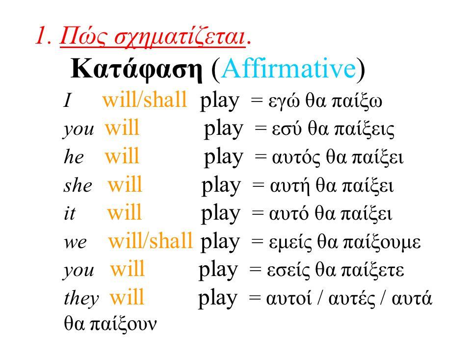 1. Πώς σχηματίζεται. Κατάφαση (Affirmative) I will/shall play = εγώ θα παίξω you will play = εσύ θα παίξεις he will play = αυτός θα παίξει she will pl