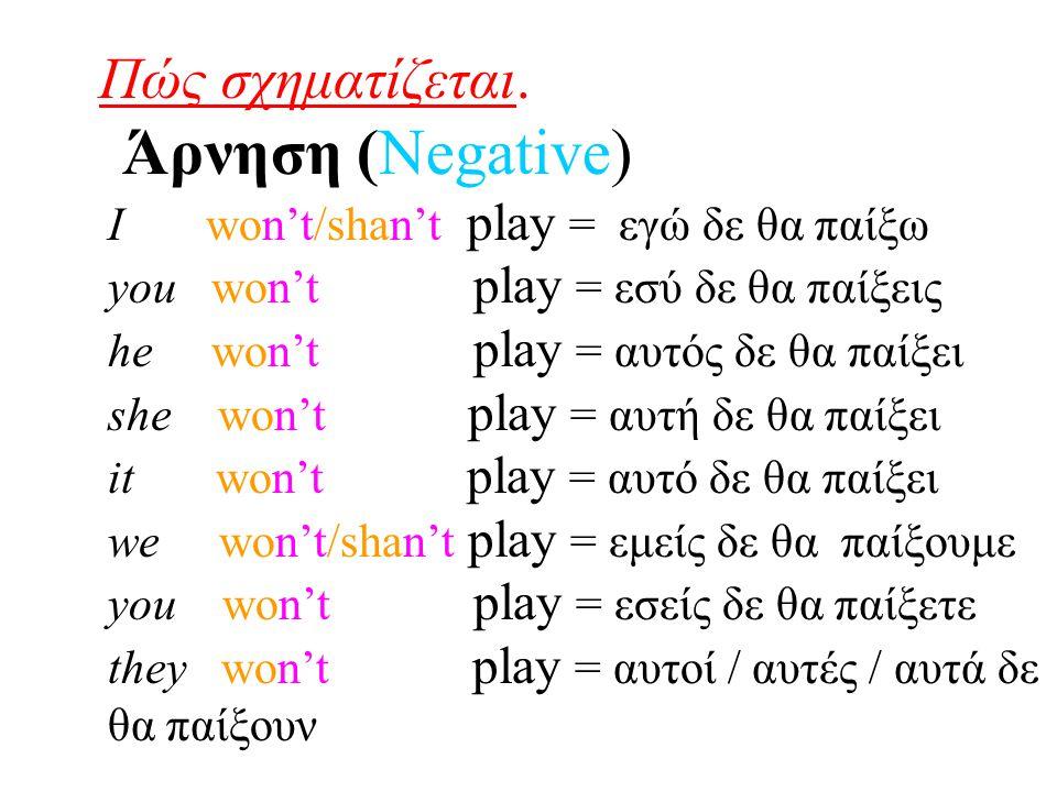 Πώς σχηματίζεται. Άρνηση (Negative) I won't/shan't play = εγώ δε θα παίξω you won't play = εσύ δε θα παίξεις he won't play = αυτός δε θα παίξει she wo