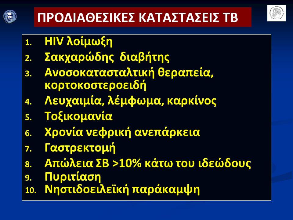 ΠΡΟΔΙΑΘΕΣΙΚΕΣ ΚΑΤΑΣΤΑΣΕΙΣ ΤΒ 1. 1. HIV λοίμωξη 2. 2. Σακχαρώδης διαβήτης 3. 3. Ανοσοκατασταλτική θεραπεία, κορτοκοστεροειδή 4. 4. Λευχαιμία, λέμφωμα,