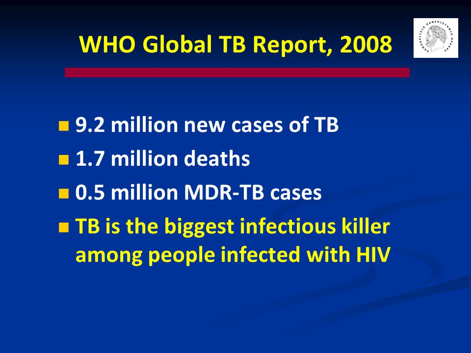 Tuberculosis 10% of the 2 billion people infected with M.
