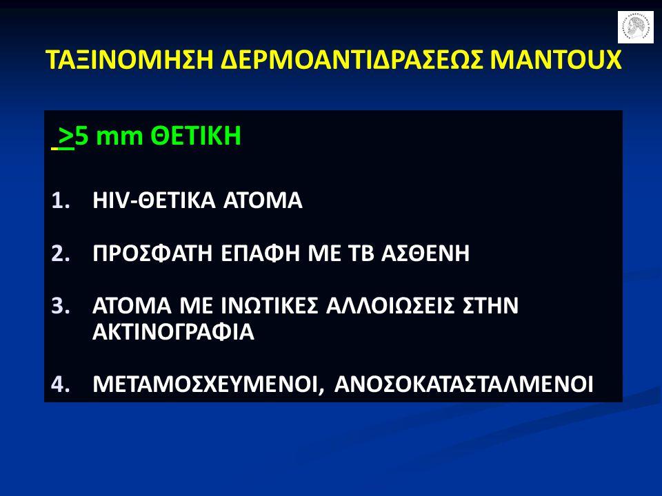 ΤΑΞΙΝΟΜΗΣΗ ΔΕΡΜΟΑΝΤΙΔΡΑΣΕΩΣ MANTOUX > 5 mm ΘΕΤΙΚΗ 1.HIV-ΘΕΤΙΚΑ ΑΤΟΜΑ 2.ΠΡΟΣΦΑΤΗ ΕΠΑΦΗ ΜΕ TB ΑΣΘΕΝΗ 3.ΑΤΟΜΑ ΜΕ ΙΝΩΤΙΚΕΣ ΑΛΛΟΙΩΣΕΙΣ ΣΤΗΝ ΑΚΤΙΝΟΓΡΑΦΙΑ 4.
