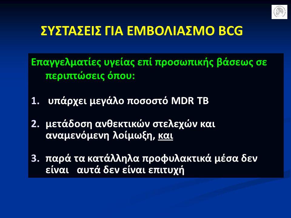 Επαγγελματίες υγείας επί προσωπικής βάσεως σε περιπτώσεις όπου: 1. υπάρχει μεγάλο ποσοστό MDR TB 2.μετάδοση ανθεκτικών στελεχών και αναμενόμενη λοίμωξ