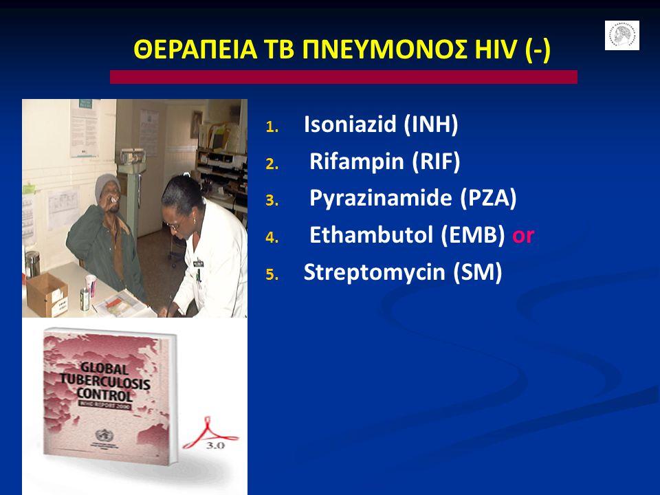 ΘΕΡΑΠΕΙΑ ΤΒ ΠΝΕΥΜΟΝΟΣ HIV (-) 1. Isoniazid (INH) 2. Rifampin (RIF) 3. Pyrazinamide (PZA) 4. Ethambutol (EMB) or 5. Streptomycin (SM)