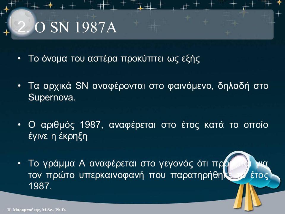2. Ο SN 1987A Το όνομα του αστέρα προκύπτει ως εξής Τα αρχικά SN αναφέρονται στο φαινόμενο, δηλαδή στο Supernova. Ο αριθμός 1987, αναφέρεται στο έτος
