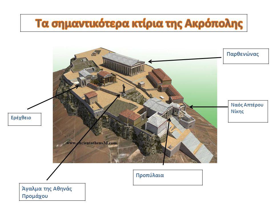 Παρθενώνας Ναός Απτέρου Νίκης Προπύλαια Ερέχθειο Άγαλμα της Αθηνάς Προμάχου