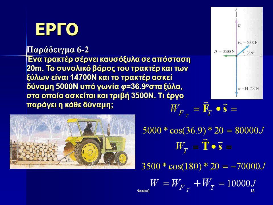 Φυσική13 ΕΡΓΟ Παράδειγμα 6-2 Ένα τρακτέρ σέρνει καυσόξυλα σε απόσταση 20m. Το συνολικό βάρος του τρακτέρ και των ξύλων είναι 14700Ν και το τρακτέρ ασκ