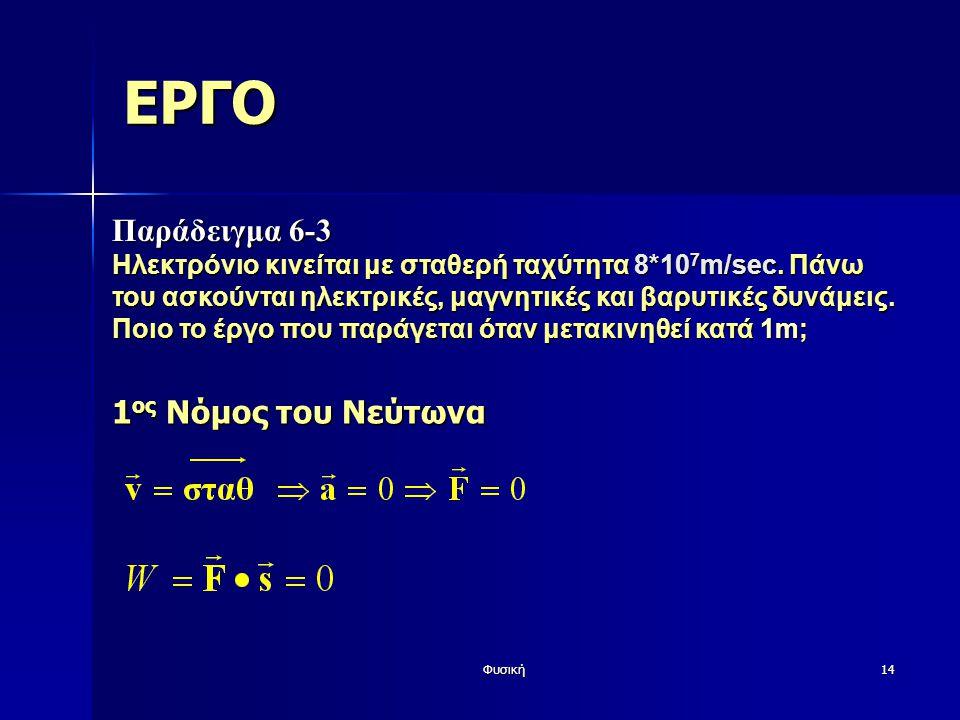 Φυσική14 ΕΡΓΟ Παράδειγμα 6-3 Ηλεκτρόνιο κινείται με σταθερή ταχύτητα 8*10 7 m/sec. Πάνω του ασκούνται ηλεκτρικές, μαγνητικές και βαρυτικές δυνάμεις. Π