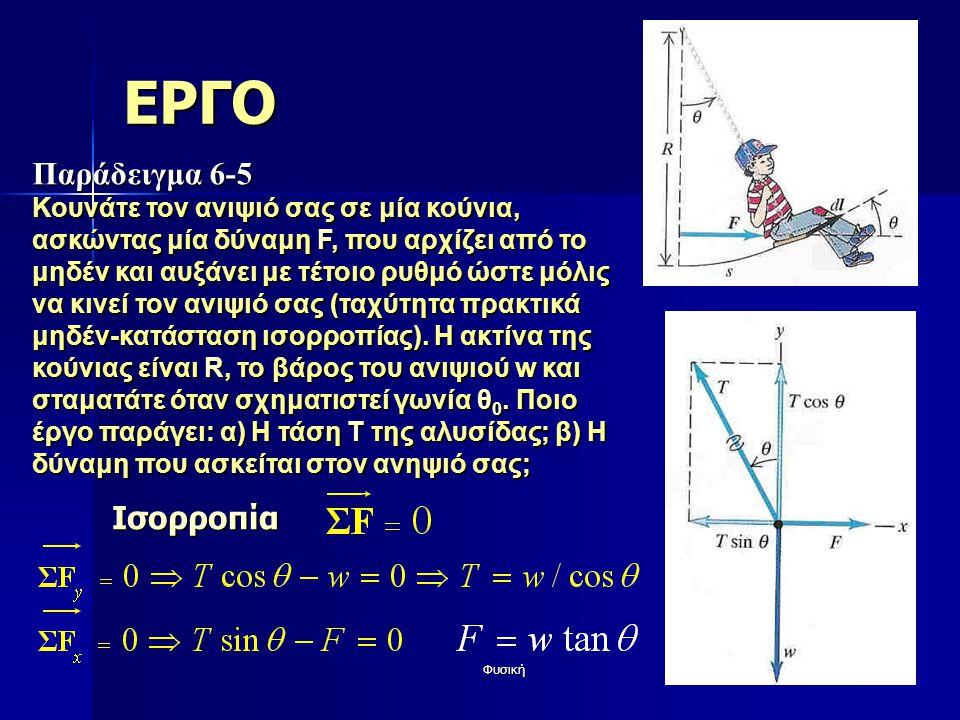 Φυσική21 ΕΡΓΟ Παράδειγμα 6-5 Κουνάτε τον ανιψιό σας σε μία κούνια, ασκώντας μία δύναμη F, που αρχίζει από το μηδέν και αυξάνει με τέτοιο ρυθμό ώστε μό