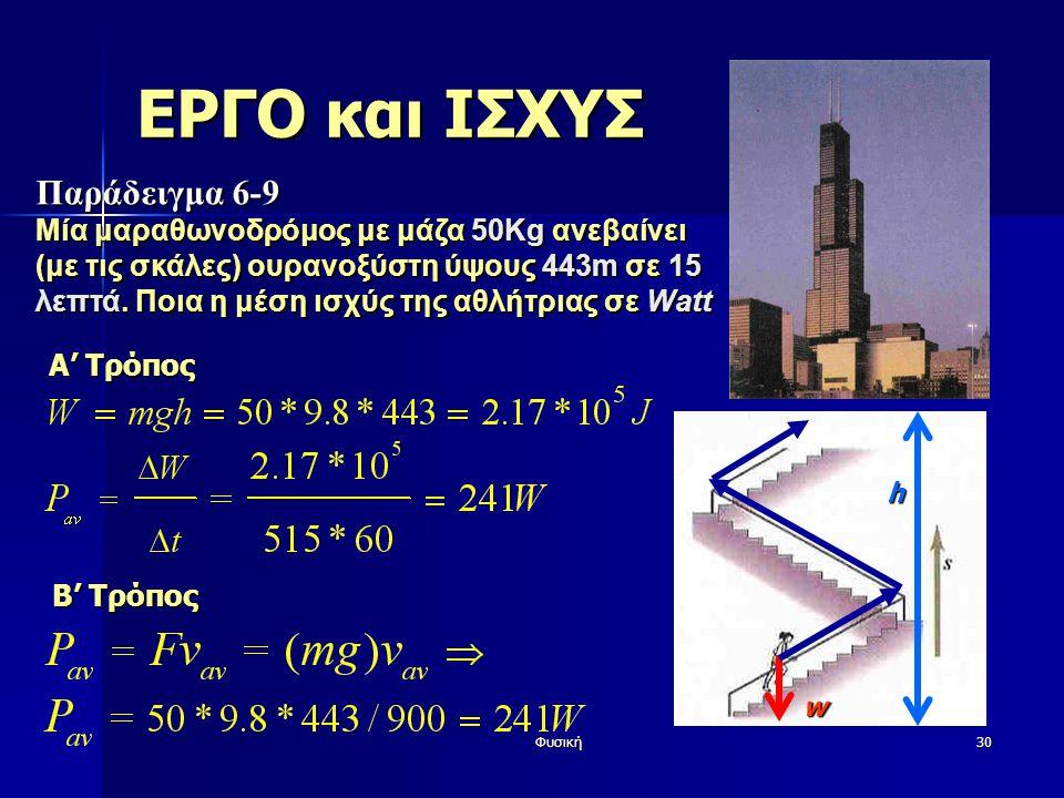 Φυσική30 ΕΡΓΟ και ΙΣΧΥΣ Παράδειγμα 6-9 Μία μαραθωνοδρόμος με μάζα 50Kg ανεβαίνει (με τις σκάλες) ουρανοξύστη ύψους 443m σε 15 λεπτά. Ποια η μέση ισχύς