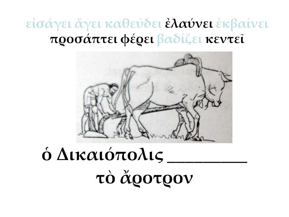 ὁ Δικαιόπολις _________ τὸ ἄροτρον