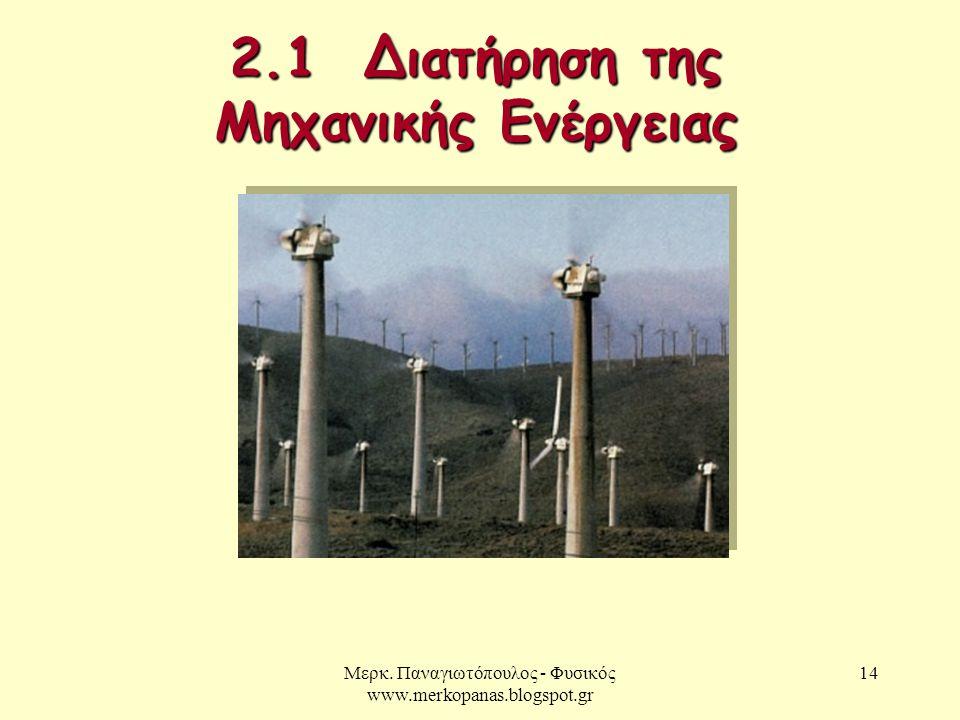 Μερκ. Παναγιωτόπουλος - Φυσικός www.merkopanas.blogspot.gr 14 2.1 Διατήρηση της Μηχανικής Ενέργειας