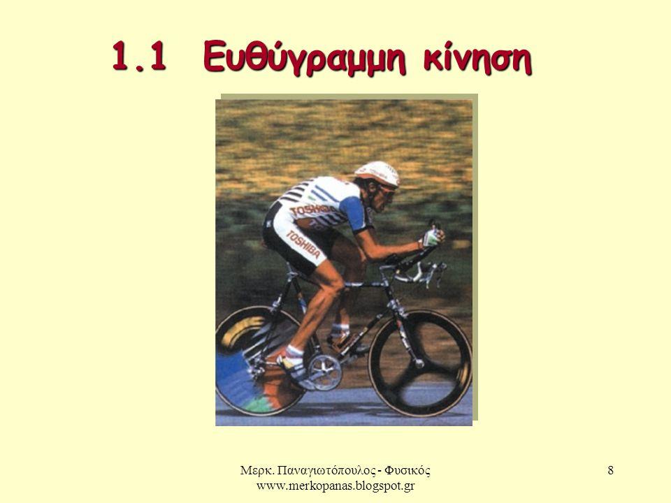 Μερκ. Παναγιωτόπουλος - Φυσικός www.merkopanas.blogspot.gr 8 1.1 Ευθύγραμμη κίνηση