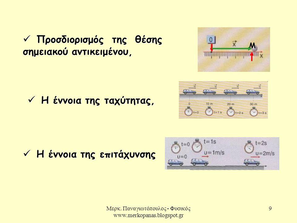 Μερκ. Παναγιωτόπουλος - Φυσικός www.merkopanas.blogspot.gr 10 1.2 Δυναμική σε μία διάσταση