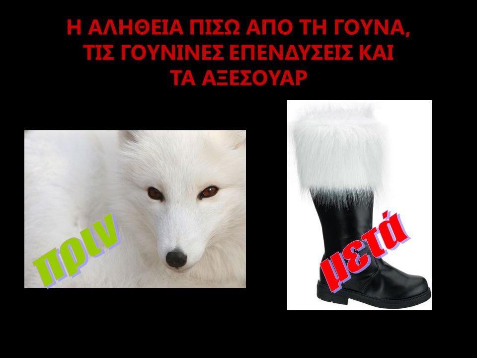 ΤΙ ΜΠΟΡΟΥΜΕ ΝΑ ΚΑΝΟΥΜΕ  Να σταματήσουμε να αγοράζουμε γούνες ή προϊόντα με γούνινες επενδύσεις, όπως γιακάδες, γάντια, τσάντες, καπέλα, παιχνίδια, διακοσμητικά αντικείμενα.