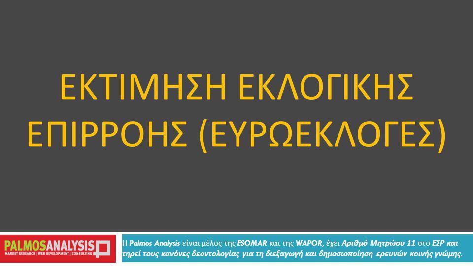 ΕΚΤΙΜΗΣΗ ΕΚΛΟΓΙΚΗΣ ΕΠΙΡΡΟΗΣ ( ΕΥΡΩΕΚΛΟΓΕΣ ) Η Palmos Analysis είναι μέλος της ESOMAR και της WAPOR, έχει Αριθμό Μητρώου 11 στο ΕΣΡ και τηρεί τους κανόνες δεοντολογίας για τη διεξαγωγή και δημοσιοποίηση ερευνών κοινής γνώμης.