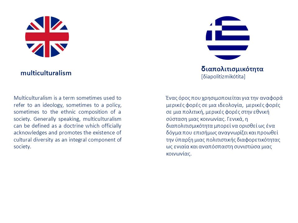 multiculturalism δ ιαπολιτισμικότητα [δiapolitizmikótita] Multiculturalism is a term sometimes used to refer to an ideology, sometimes to a policy, sometimes to the ethnic composition of a society.