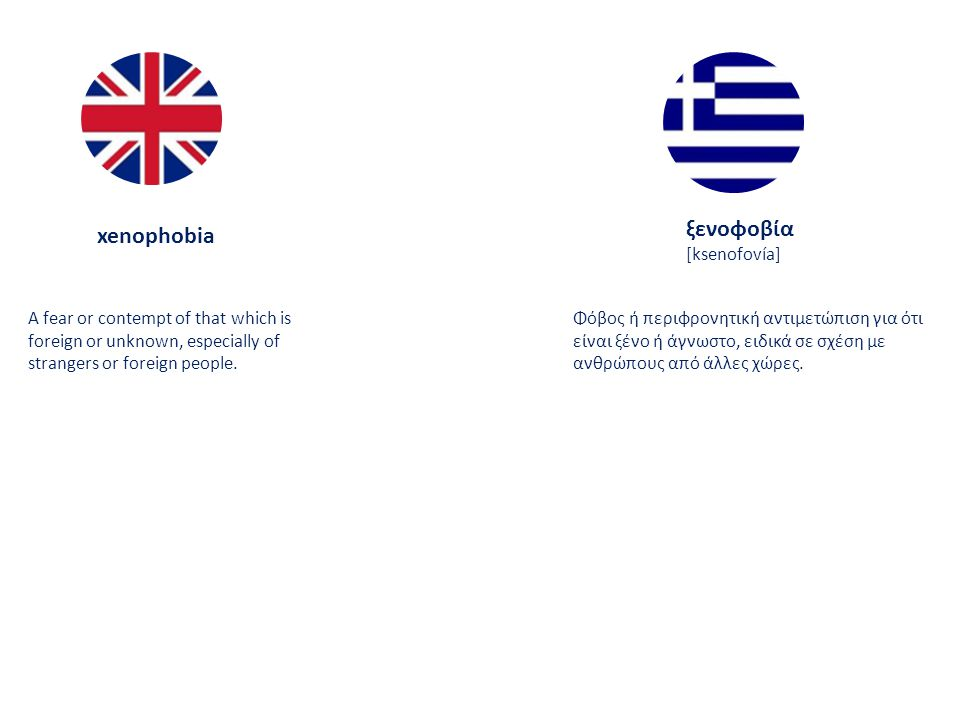 xenophobia ξενοφοβία [ksenofovía] A fear or contempt of that which is foreign or unknown, especially of strangers or foreign people.