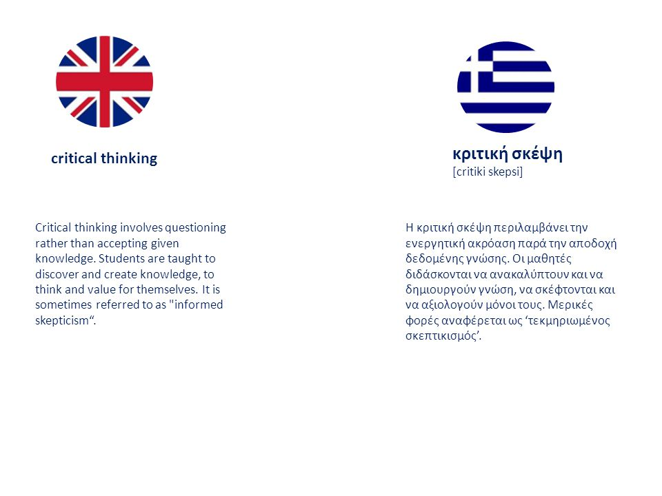 critical thinking κριτική σκέψη [critiki skepsi] Critical thinking involves questioning rather than accepting given knowledge.