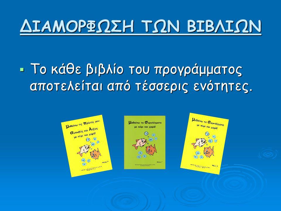 ΔΙΑΜOΡΦΩΣΗ ΤΩΝ ΒΙΒΛΙΩΝ  Το κάθε βιβλίο του προγράμματος αποτελείται από τέσσερις ενότητες.