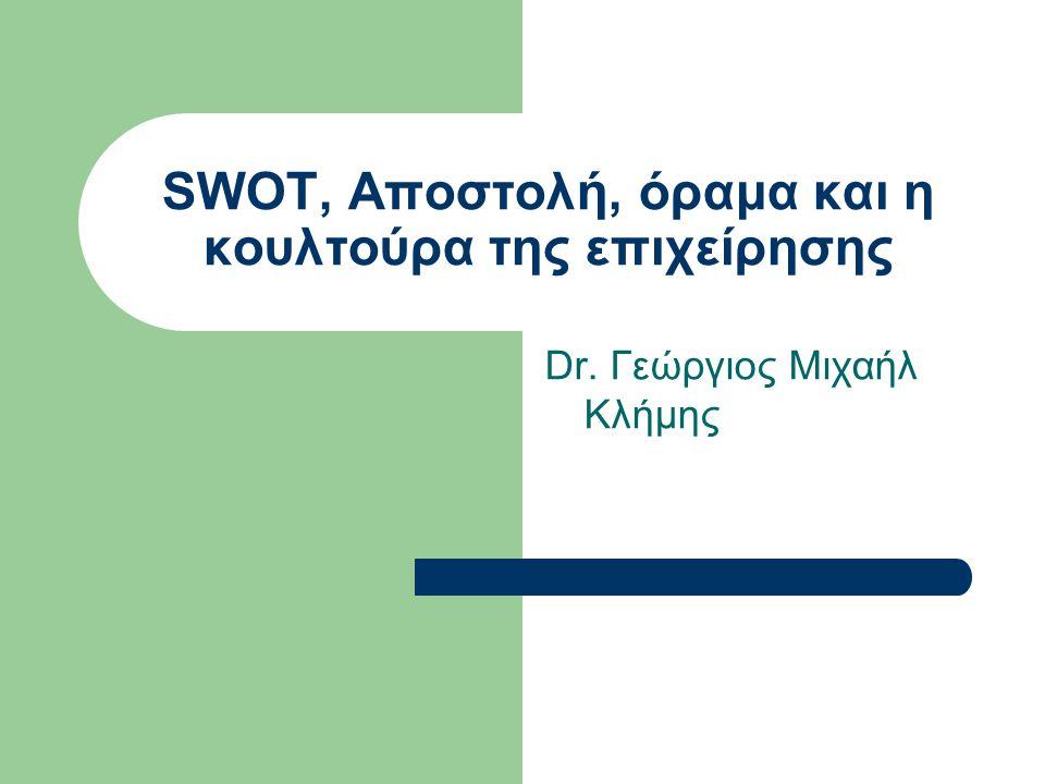 SWOT, Αποστολή, όραμα και η κουλτούρα της επιχείρησης Dr. Γεώργιος Μιχαήλ Κλήμης