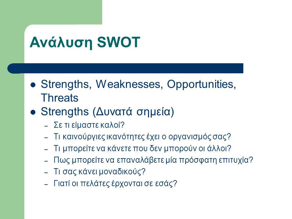 Ανάλυση SWOT Strengths, Weaknesses, Opportunities, Threats Strengths (Δυνατά σημεία) – Σε τι είμαστε καλοί.