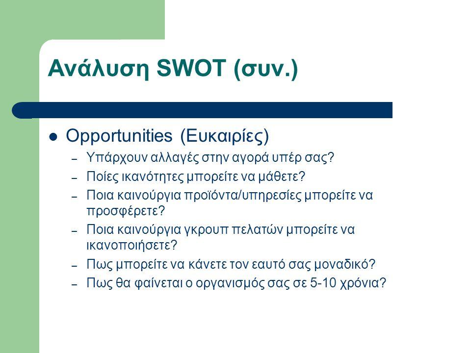Ανάλυση SWOT (συν.) Opportunities (Ευκαιρίες) – Υπάρχουν αλλαγές στην αγορά υπέρ σας.