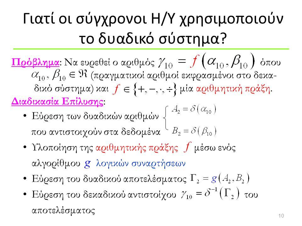 10 Εύρεση των δυαδικών αριθμών που αντιστοιχούν στα δεδομένα Υλοποίηση της αριθμητικής πράξης μέσω ενός αλγορίθμου λογικών συναρτήσεων Εύρεση του δυαδ