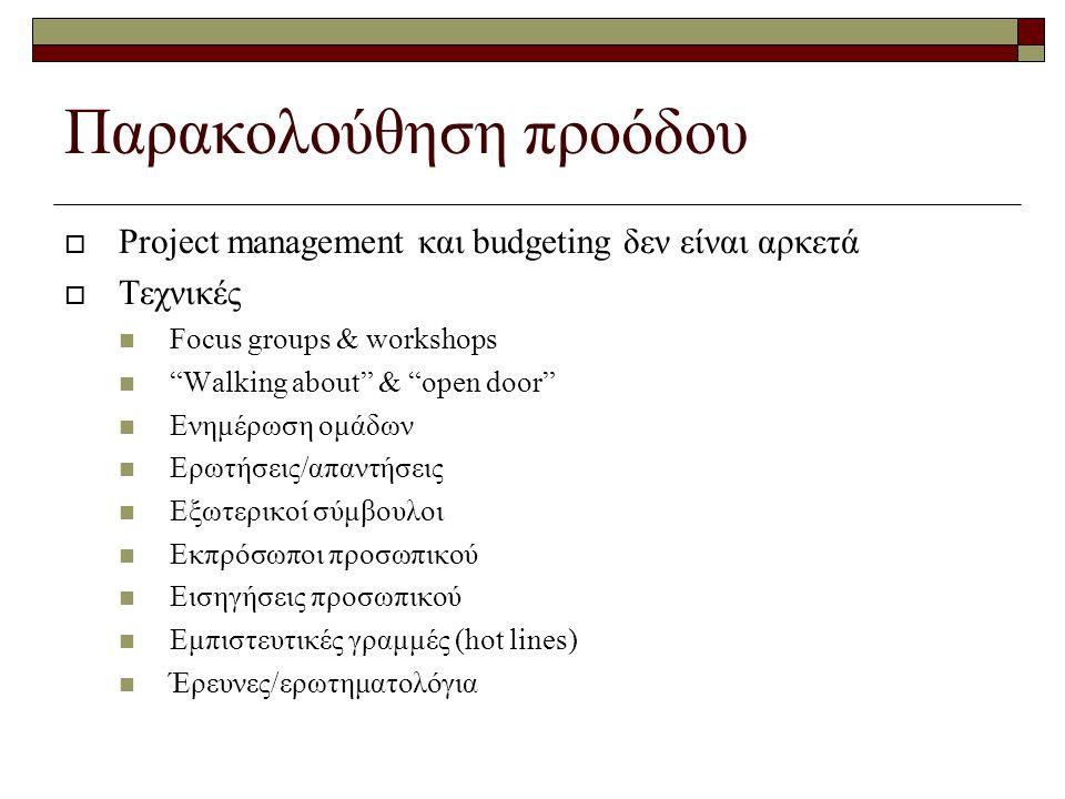 Παρακολούθηση προόδου  Project management και budgeting δεν είναι αρκετά  Τεχνικές Focus groups & workshops Walking about & open door Ενημέρωση ομάδων Ερωτήσεις/απαντήσεις Εξωτερικοί σύμβουλοι Εκπρόσωποι προσωπικού Εισηγήσεις προσωπικού Εμπιστευτικές γραμμές (hot lines) Έρευνες/ερωτηματολόγια