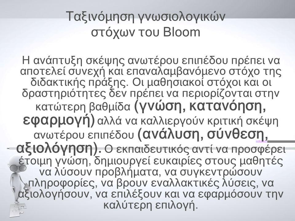 Ταξινόμηση γνωσιολογικών στόχων του Bloom Η ανάπτυξη σκέψης ανωτέρου επιπέδου πρέπει να αποτελεί συνεχή και επαναλαμβανόμενο στόχο της διδακτικής πράξης.