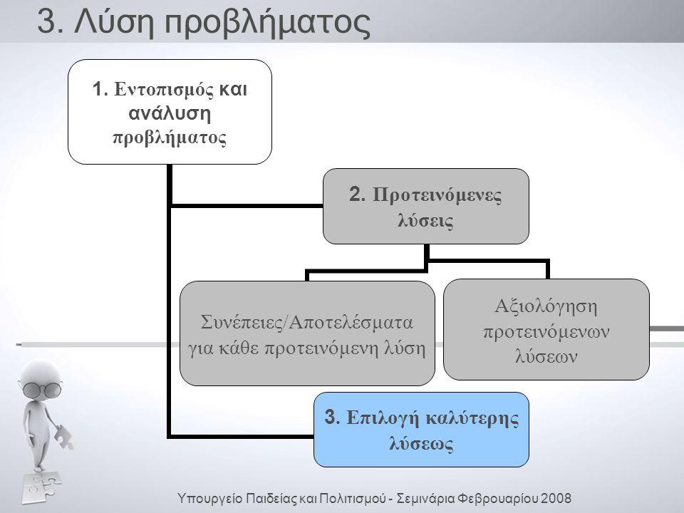 3.Λύση προβλήματος 1. Εντοπισμός και ανάλυση προβλήματος 2.