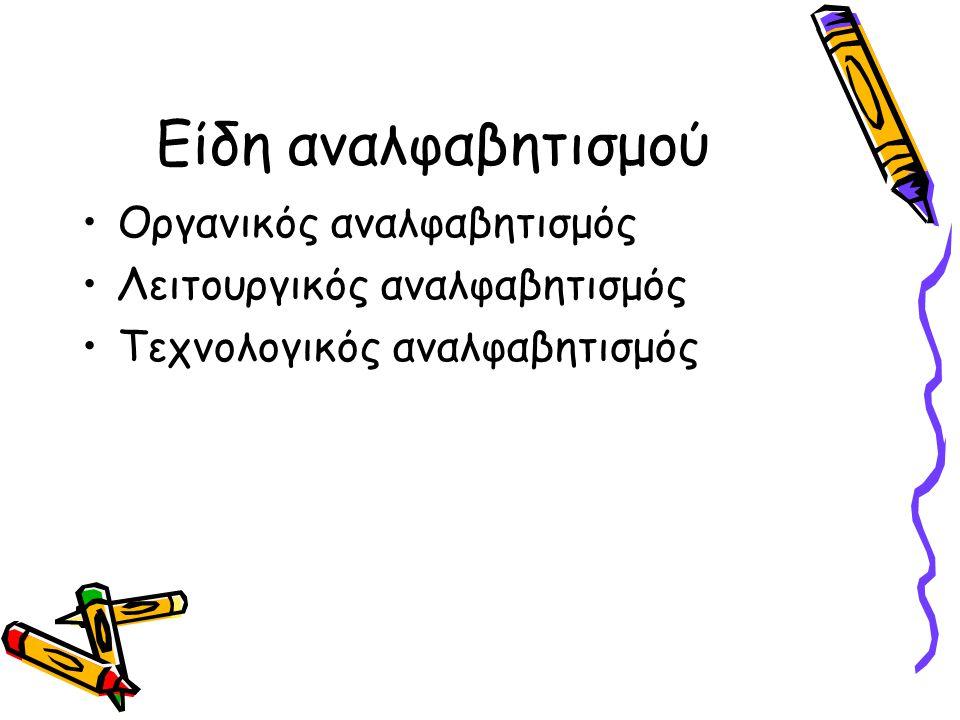 Είδη αναλφαβητισμού Οργανικός αναλφαβητισμός Λειτουργικός αναλφαβητισμός Τεχνολογικός αναλφαβητισμός