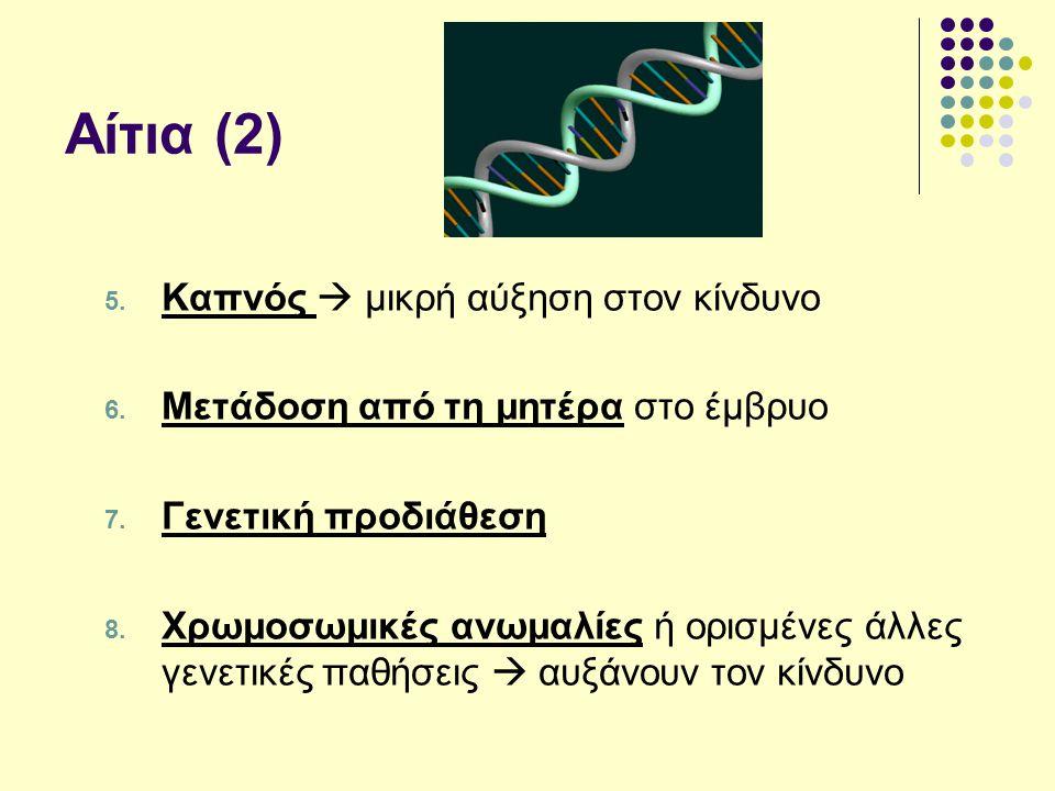 Αίτια (2) 5. Καπνός  μικρή αύξηση στον κίνδυνο 6. Μετάδοση από τη μητέρα στο έμβρυο 7. Γενετική προδιάθεση 8. Χρωμοσωμικές ανωμαλίες ή ορισμένες άλλε