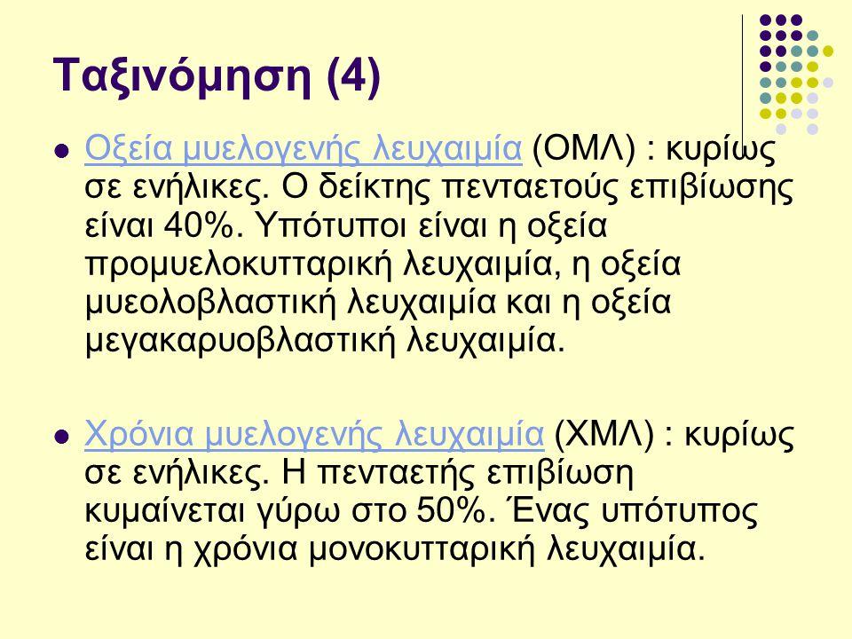 Ταξινόμηση (4) Οξεία μυελογενής λευχαιμία (ΟΜΛ) : κυρίως σε ενήλικες.
