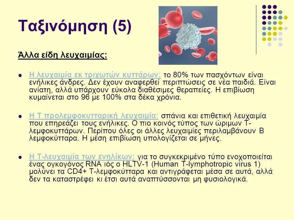 Ταξινόμηση (5) Άλλα είδη λευχαιμίας: Η λευχαιμία εκ τριχωτών κυττάρων: το 80% των πασχόντων είναι ενήλικες άνδρες.