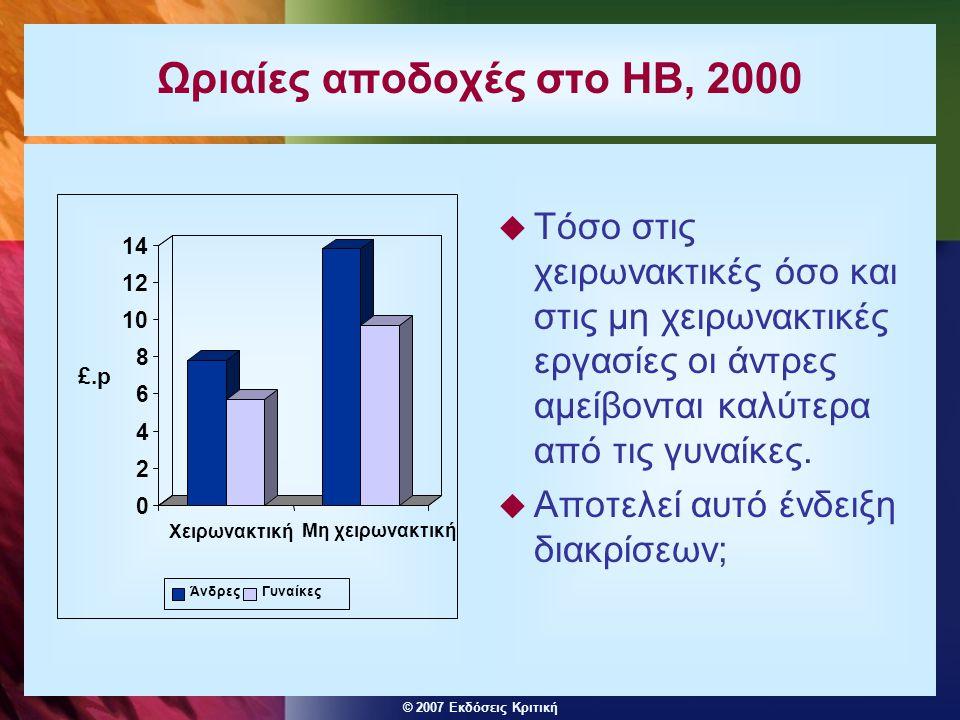 © 2007 Εκδόσεις Κριτική Ωριαίες αποδοχές στο ΗΒ, 2000  Τόσο στις χειρωνακτικές όσο και στις μη χειρωνακτικές εργασίες οι άντρες αμείβονται καλύτερα α