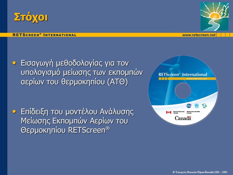 Στόχοι Εισαγωγή μεθοδολογίας για τον υπολογισμό μείωσης των εκπομπών αερίων του θερμοκηπίου (ΑΤΘ) Εισαγωγή μεθοδολογίας για τον υπολογισμό μείωσης των εκπομπών αερίων του θερμοκηπίου (ΑΤΘ) Επίδειξη του μοντέλου Ανάλυσης Μείωσης Εκπομπών Αερίων του Θερμοκηπίου RETScreen ® Επίδειξη του μοντέλου Ανάλυσης Μείωσης Εκπομπών Αερίων του Θερμοκηπίου RETScreen ® © Υπουργός Φυσικών Πόρων Καναδά 2001 – 2005.