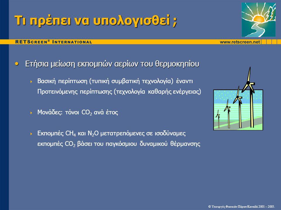 Τι πρέπει να υπολογισθεί ; Ετήσια μείωση εκπομπών αερίων του θερμοκηπίου Ετήσια μείωση εκπομπών αερίων του θερμοκηπίου  Βασική περίπτωση (τυπική συμβατική τεχνολογία) έναντι Προτεινόμενης περίπτωσης (τεχνολογία καθαρής ενέργειας)  Μονάδες: τόνοι CO 2 ανά έτος  Εκπομπές CH 4 και N 2 O μετατρεπόμενες σε ισοδύναμες εκπομπές CO 2 βάσει του παγκόσμιου δυναμικού θέρμανσης © Υπουργός Φυσικών Πόρων Καναδά 2001 – 2005.