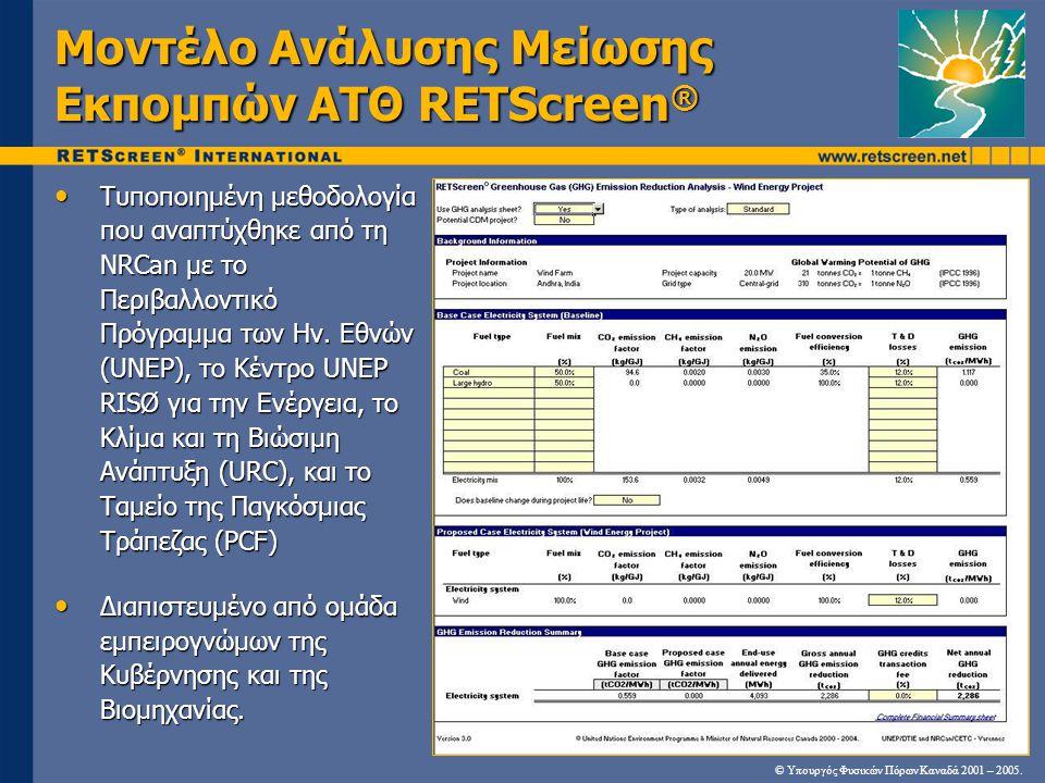 Μοντέλο Ανάλυσης Μείωσης Εκπομπών ΑΤΘ RETScreen ® Τυποποιημένη μεθοδολογία που αναπτύχθηκε από τη NRCan με το Περιβαλλοντικό Πρόγραμμα των Ην.