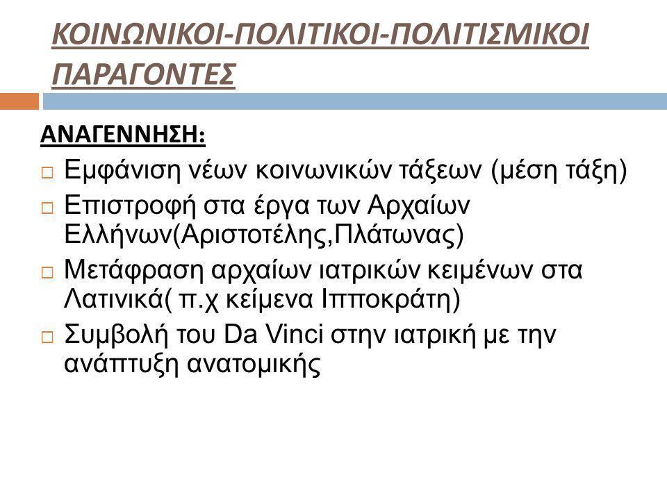 ΚΟΙΝΩΝΙΚΟΙ - ΠΟΛΙΤΙΚΟΙ - ΠΟΛΙΤΙΣΜΙΚΟΙ ΠΑΡΑΓΟΝΤΕΣ ΑΝΑΓΕΝΝΗΣΗ :  Εμφάνιση νέων κοινωνικών τάξεων (μέση τάξη)  Επιστροφή στα έργα των Αρχαίων Ελλήνων(Αριστοτέλης,Πλάτωνας)  Μετάφραση αρχαίων ιατρικών κειμένων στα Λατινικά( π.χ κείμενα Ιπποκράτη)  Συμβολή του Da Vinci στην ιατρική με την ανάπτυξη ανατομικής