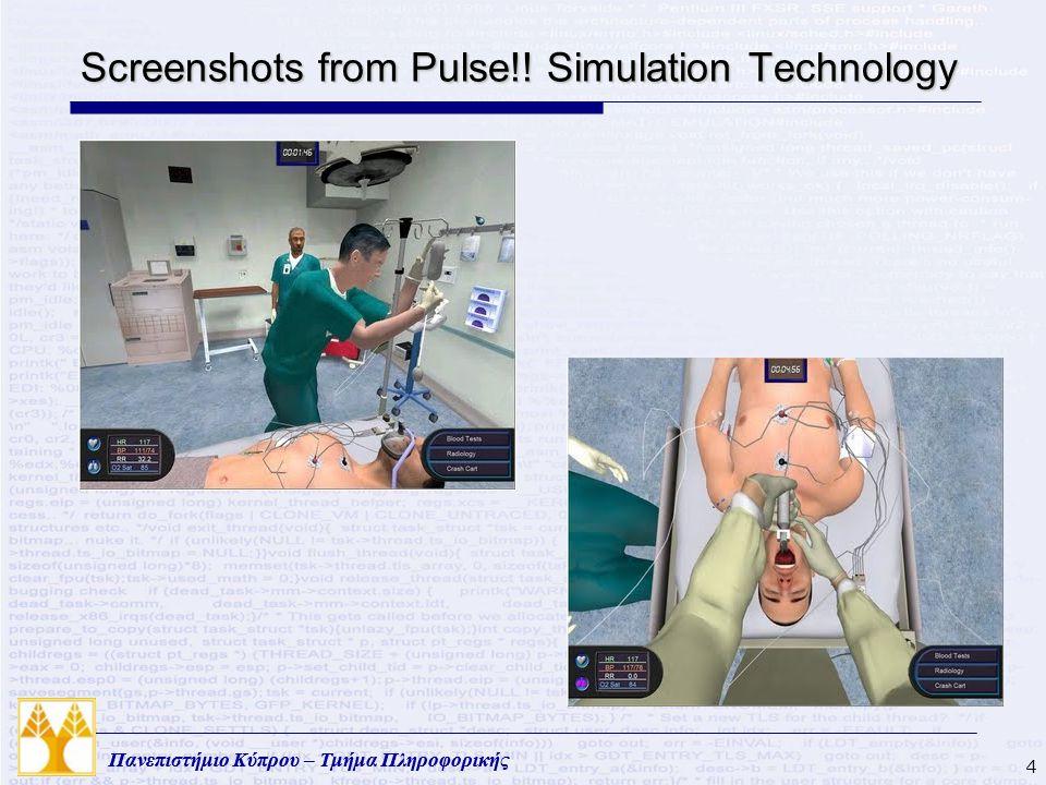 Πανεπιστήμιο Κύπρου – Τμήμα Πληροφορικής Screenshots from Pulse!! Simulation Technology 4